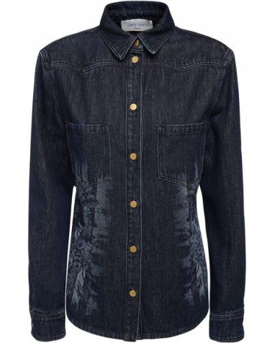 Синяя рубашка на пуговицах Alberta Ferretti