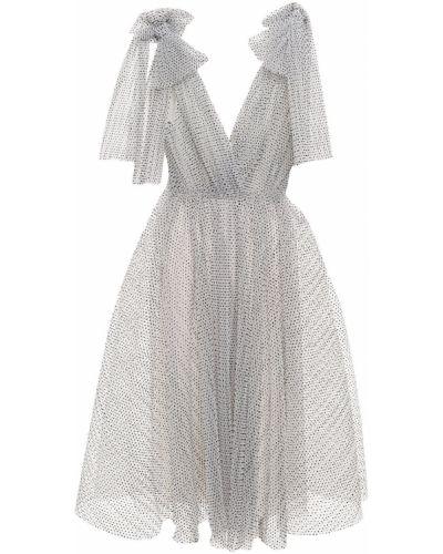 Платье миди из фатина - белое Monique Lhuillier