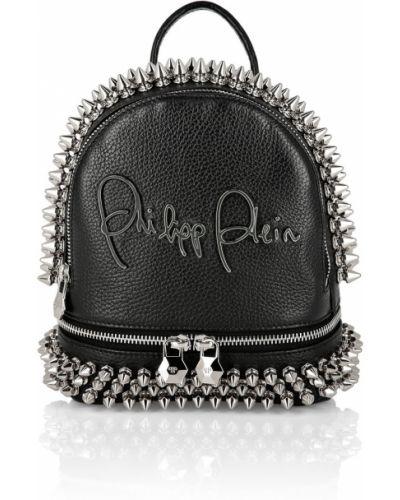 Кожаный рюкзак черный с шипами Philipp Plein