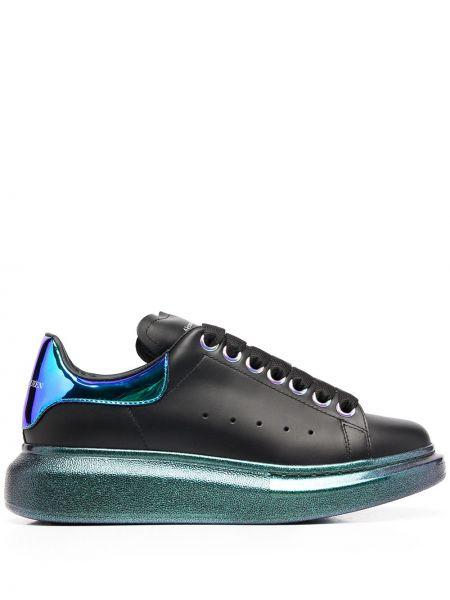 Czarny skórzane sneakersy z łatami na sznurowadłach metal Alexander Mcqueen