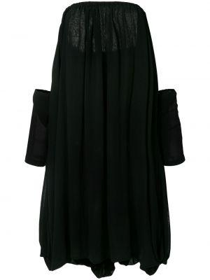 Черное расклешенное платье миди винтажное из вискозы Yohji Yamamoto Pre-owned