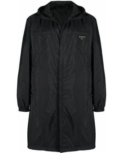Czarny bielizna płaszcz przeciwdeszczowy z kapturem z łatami Prada