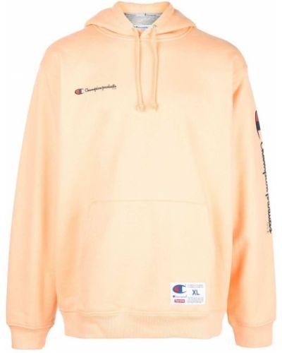 Różowa bluza długa z kapturem z długimi rękawami Supreme
