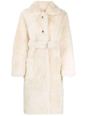 Бежевое кожаное пальто классическое с воротником Liska