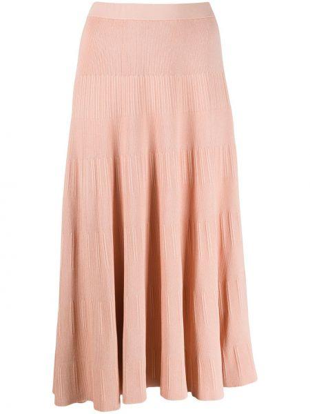 Оранжевая юбка миди с поясом в рубчик Theory