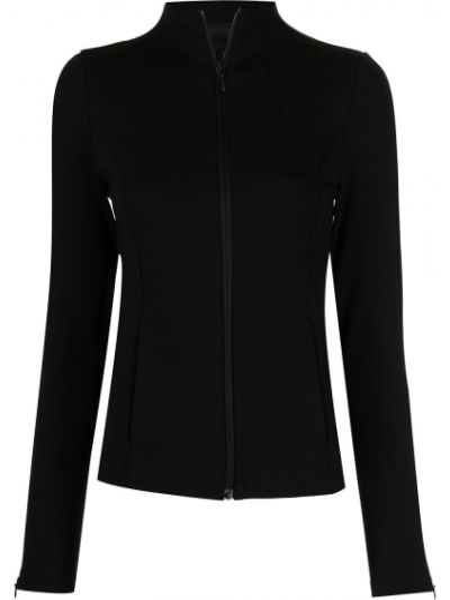Черная спортивная куртка с воротником из вискозы Donna Karan
