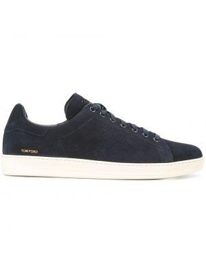Niebieskie sneakersy skorzane Tom Ford