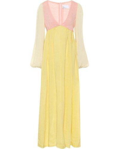 Льняное розовое платье макси Lisa Marie Fernandez