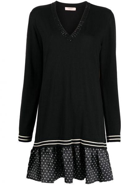 С рукавами черное платье макси с вырезом Twin-set