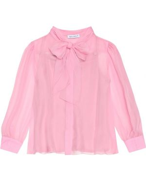 Bluzka różowy jedwab Dolce & Gabbana Kids
