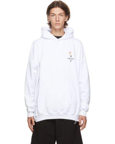 Bawełna biały bluza z kapturem z haftem z kieszeniami Balenciaga