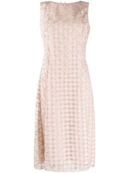 Sukienka midi o prostym kroju różowa D.exterior