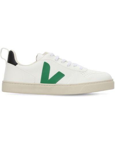 Кожаные белые кроссовки на липучках Veja