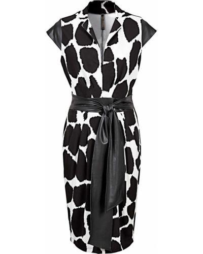 Черное кожаное платье миди Bonprix