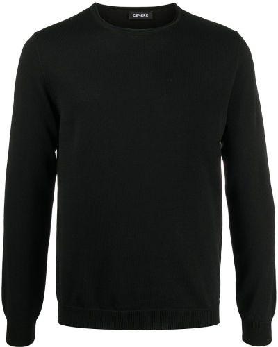 Шерстяной черный вязаный джемпер с круглым вырезом Cenere Gb