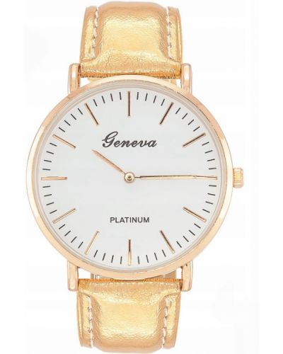 Klasyczny biały złoty zegarek Geneva