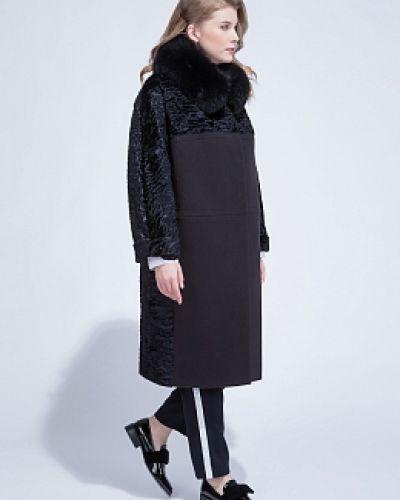 Утепленное черное пальто с воротником Electrastyle