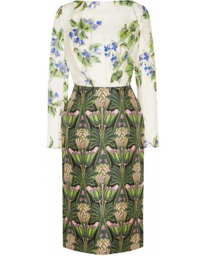 Платье миди с цветочным принтом шелковое Prada