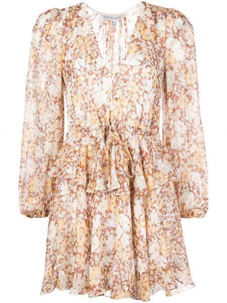 Шелковое плиссированное платье мини с V-образным вырезом на молнии Shona Joy