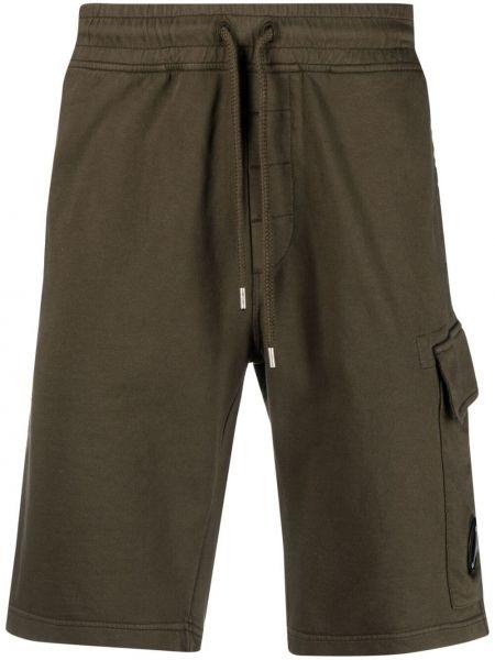 Зеленые хлопковые шорты карго с карманами C.p. Company