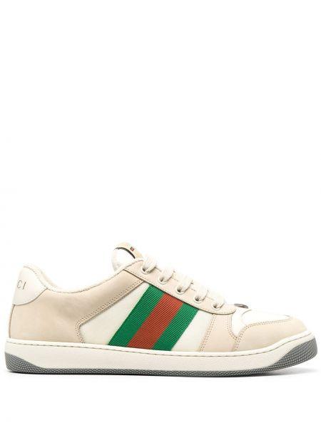 Zielony włókienniczy skórzane sneakersy z łatami na sznurowadłach Gucci