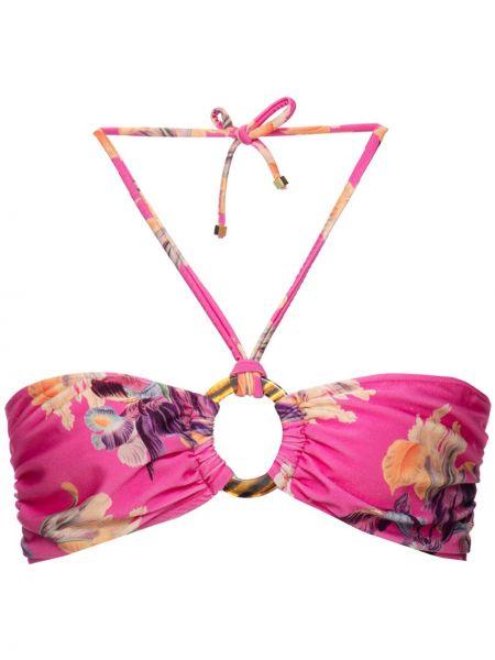 Пляжный розовый лиф бандо эластичный Patbo