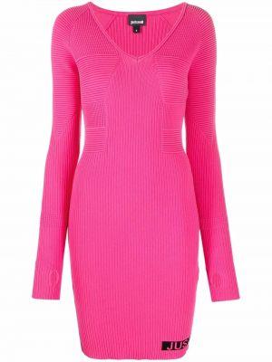 Платье макси с длинными рукавами - розовое Just Cavalli