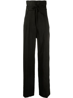 Czarne spodnie z wysokim stanem bawełniane Jacquemus
