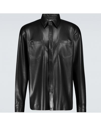 Прямая кожаная черная рубашка Nanushka