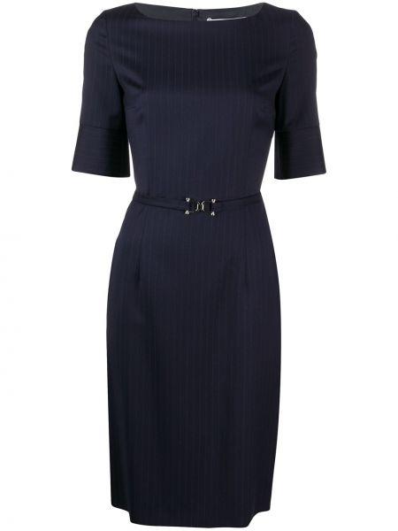Шерстяное синее платье миди с поясом Boss Hugo Boss