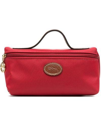 Красная кожаная косметичка на молнии Longchamp