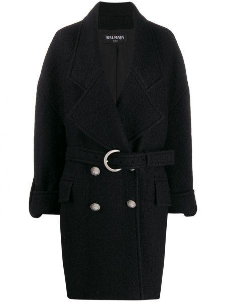 Шерстяное черное пальто с капюшоном Balmain