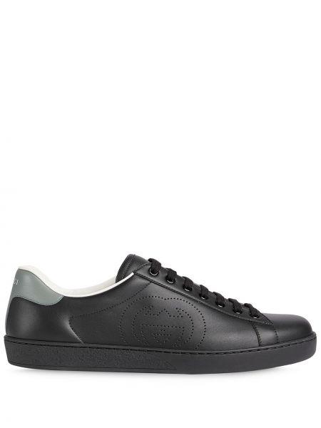 Кожаные черные кеды на шнуровке Gucci