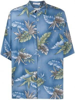 Синяя прямая рубашка с короткими рукавами с воротником на пуговицах Pierre Cardin Pre-owned