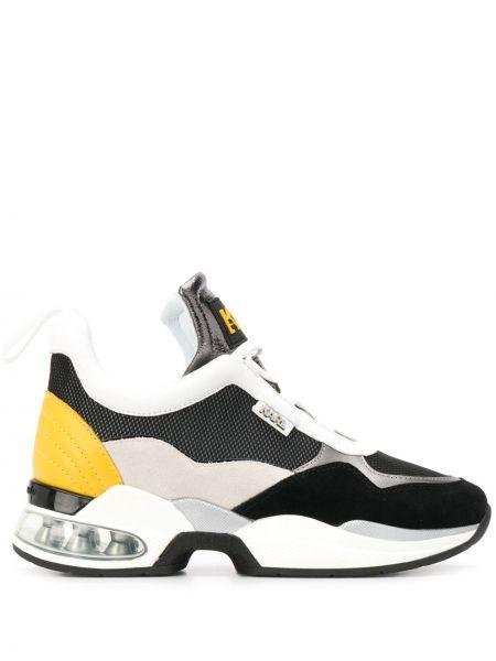 Кожаные кроссовки с логотипом на шнуровке Karl Lagerfeld