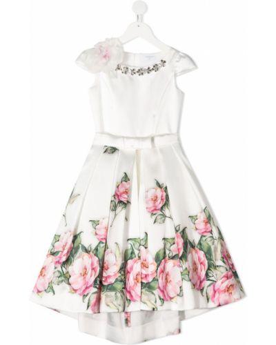 Белое платье в цветочный принт с декольте Monnalisa