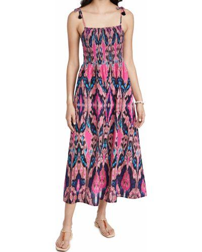 Розовое текстильное платье с карманами с бахромой Figue