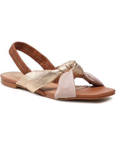 Brązowe złote sandały Quazi
