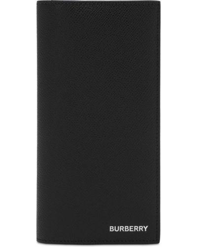 Czarny portfel z kieszeniami z prawdziwej skóry z gniazdem Burberry