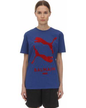 Niebieski t-shirt z printem Puma X Balmain
