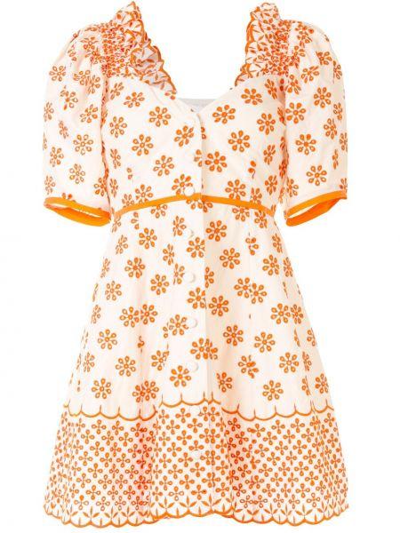Расклешенное платье мини с вышивкой на пуговицах с вырезом Alice Mccall