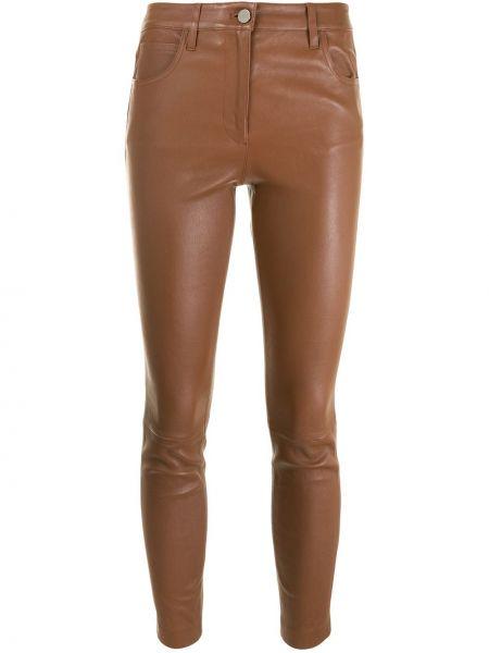 С завышенной талией коричневые кожаные укороченные брюки Theory