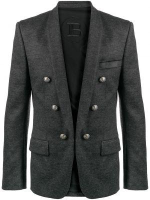 Шерстяной серый удлиненный пиджак на пуговицах Balmain