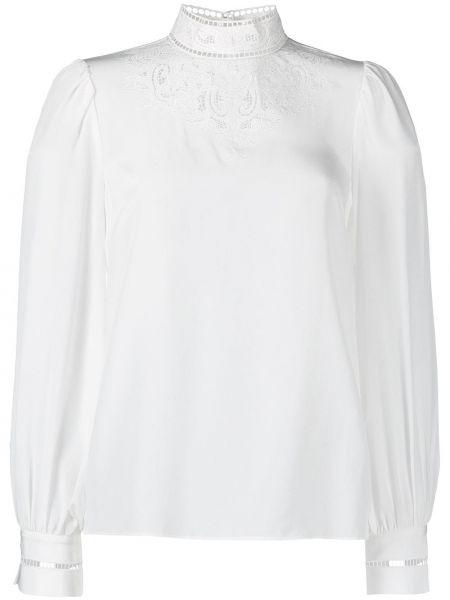 Biała bluzka z haftem z jedwabiu Frame