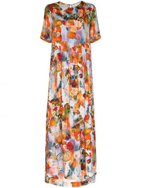 Sukienka długa z jedwabiu - niebieska Collina Strada