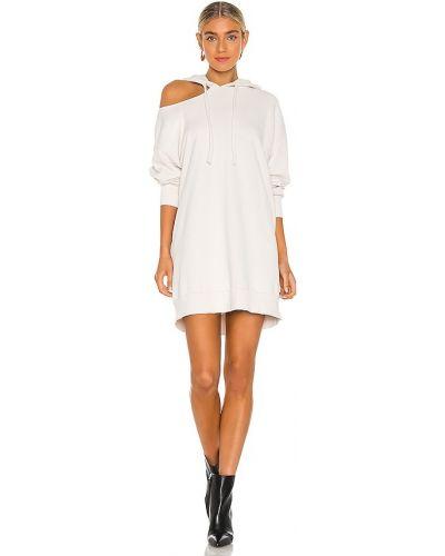 Кожаное платье-рубашка с капюшоном для полных Lna