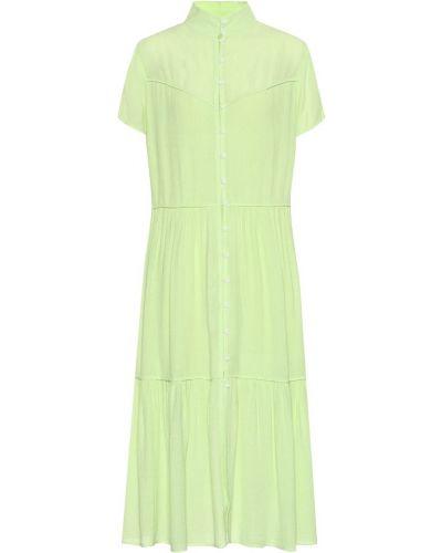Платье миди из вискозы зеленый Rag & Bone