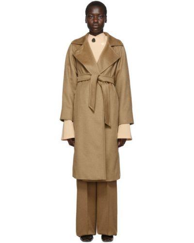 Коралловое шерстяное длинное пальто с поясом с воротником Max Mara