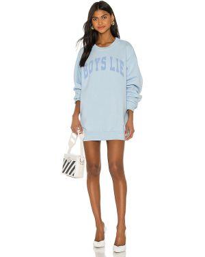 Niebieski sweter bawełniany z printem Boys Lie
