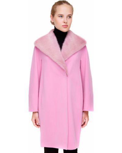Шерстяное розовое пальто с капюшоном Heresis